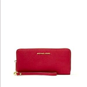 Michael Kors Red Jet Set Travel Wristlet Wallet